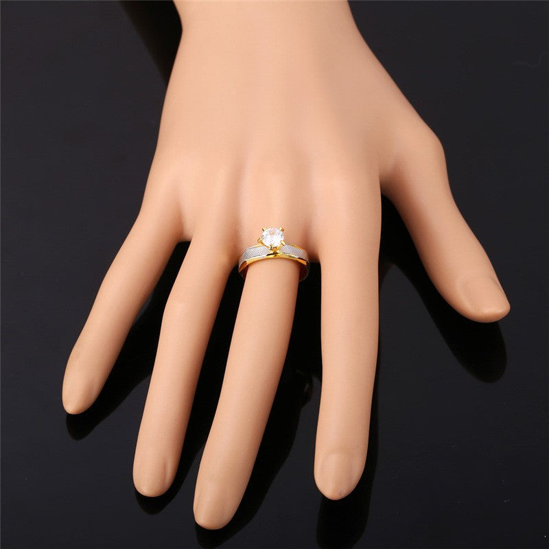 Crystal Cubic Zirconia Brand Ring Gold Color Fashion Jewelry Party Women Gift Trendy Wedding Bands Rings R370