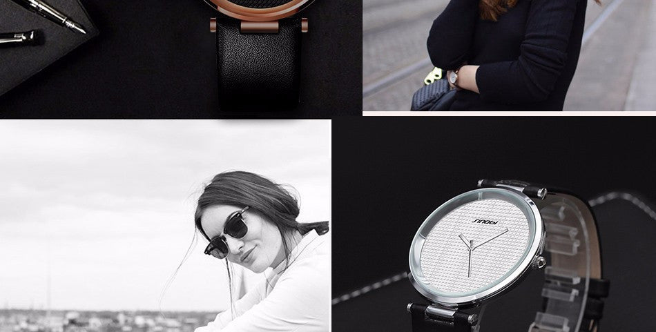 Simple Luxury Brand Quartz Watch Women fashion Casual Rose Gold Silver Leather Ladies Wristwatch Clock Female Gift