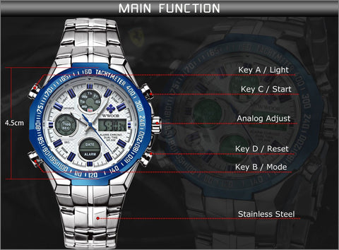 Brand Luxury Men LED Digital Sport Watch Men's Quartz Analog Clock Male Army Military Watches Steel Wristwatch relogio masculino