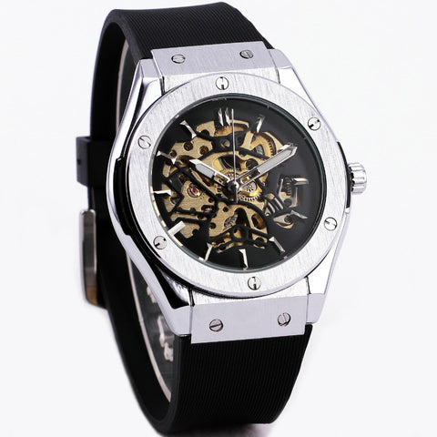 Men Military Watch Fashion Auto Mechanical Wristwatch Rubber Strap Skeleton Stainless-steel Case reloj hombre