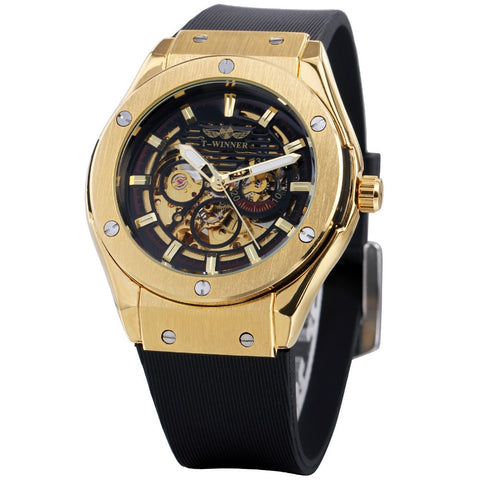 Image of Men Watches 3 Dial Golden Metal Series Top Luxury Brand Automatic Watch Luxury Brand Mechanical Skeleton Male Wrist Watch