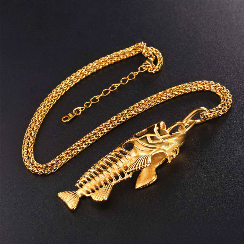 Hip Hop Chain For Men Big Fish Bone Statement Pendant Necklaces Gold Color Stainless Steel Fishing Hippie Kpop Jewelry P1039