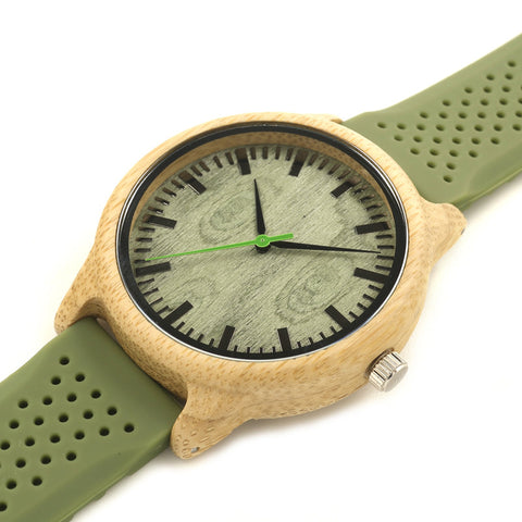 Image of Casual Green Silicone Strap Wooden Bamboo Watch