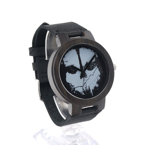 Image of Ebony Skeleton Black Wood Men's Watch with Real Leather Strap