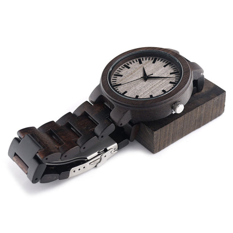 Ebony Quartz Wood Watch