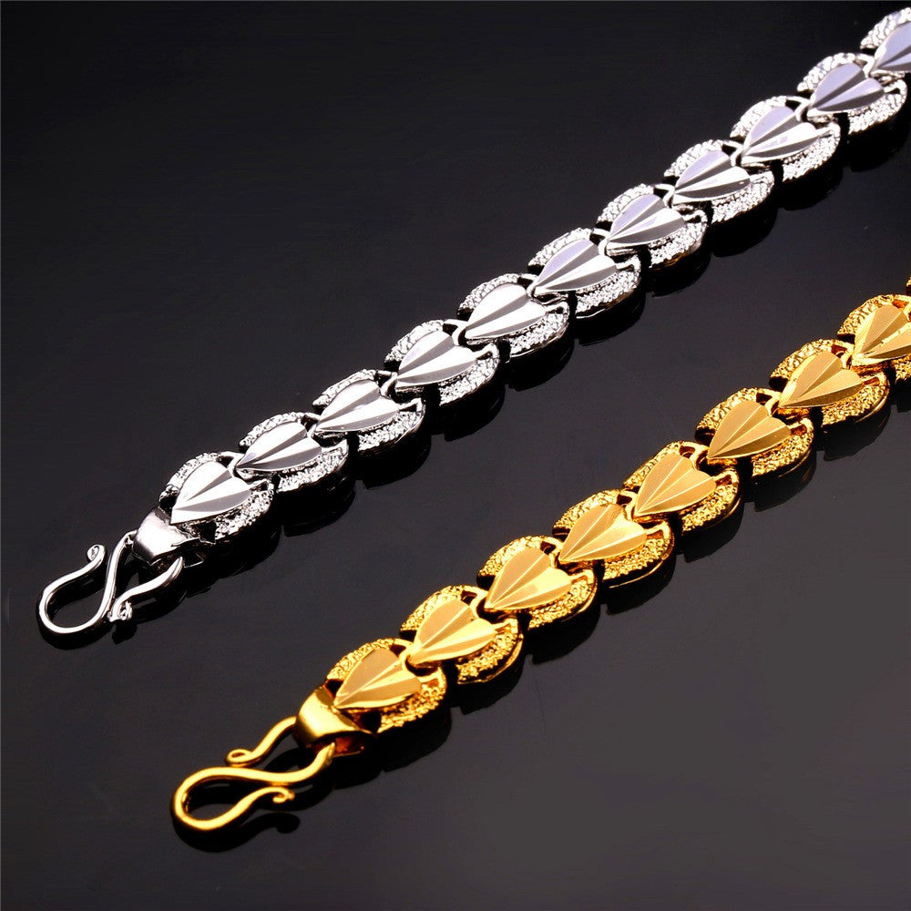 Heart Love Bracelets Sale Gold Color Bracelets & Bangles For Men/Women Gift Party Jewelry Trendy H792