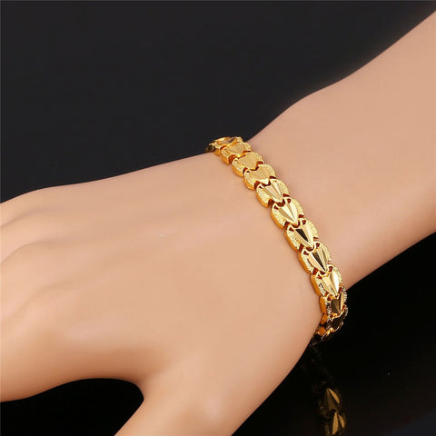 Image of Heart Love Bracelets Sale Gold Color Bracelets & Bangles For Men/Women Gift Party Jewelry Trendy H792