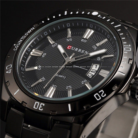 Image of Luxury Brand Full Stainless Steel Analog Display Date Men's Quartz Watch Waterproof Watches Men Watch relogio masculino