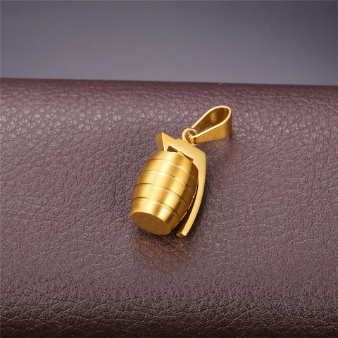 Stainless Steel Charms Men Fashion Jewelry Hand Grenades Pendant Trendy Party Gold Color Chic Chain Necklace P750