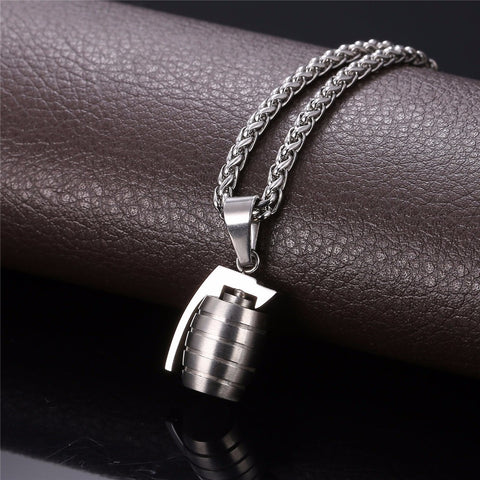 Image of Stainless Steel Charms Men Fashion Jewelry Hand Grenades Pendant Trendy Party Gold Color Chic Chain Necklace P750