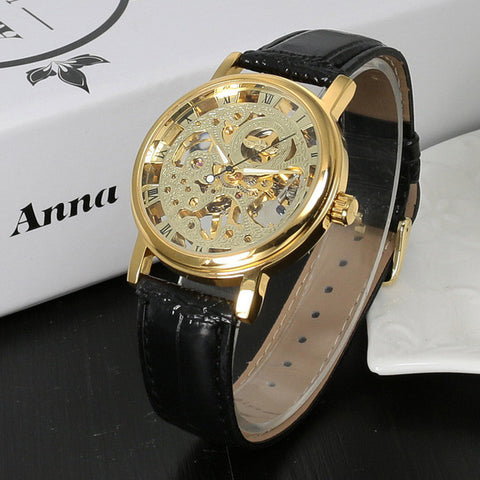 Image of Top Brand Luxury Fashion Casual Stainless Steel Men Mechanical Watch Skeleton Hand Wind Watch For Men Dress Wristwatch