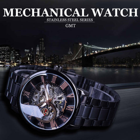 Classic Retro Roman Number Black Steel Skeleton Watch