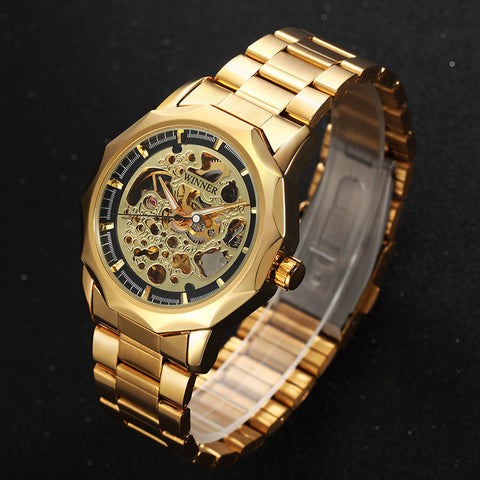 Image of Golden Watches Men Business Military Skeleton Wristwatches Automatic Mechanical Watches Steel Strap Relogio Masculino