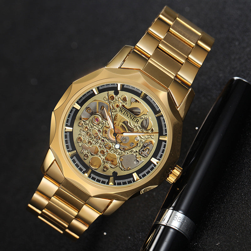 Golden Watches Men Business Military Skeleton Wristwatches Automatic Mechanical Watches Steel Strap Relogio Masculino