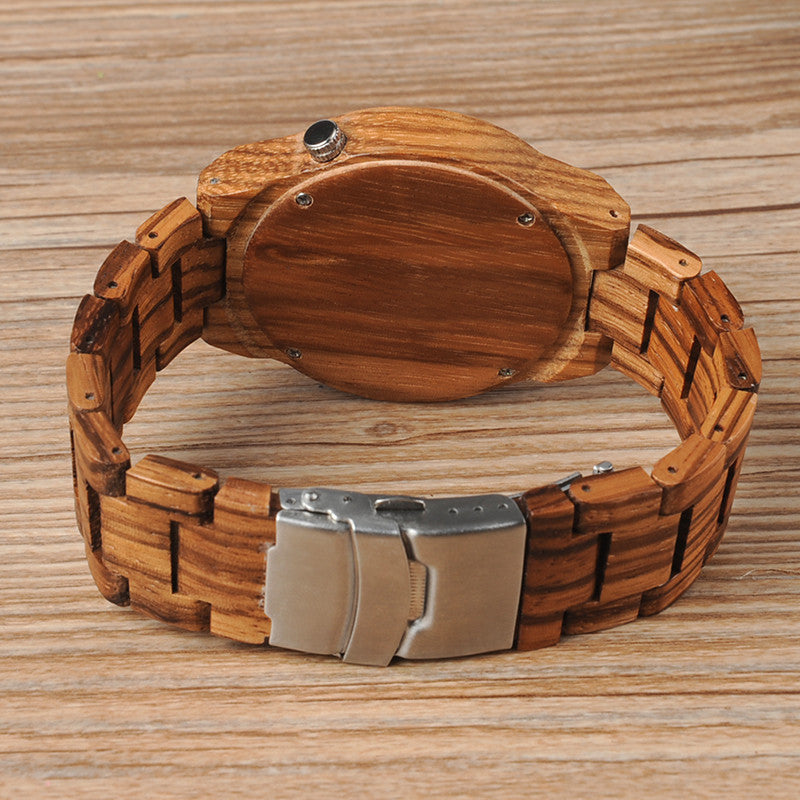 Luminous Pointers Zebra Wooden Watch