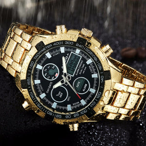 Amunda Stainless Steel Gold Watch with Digital Features