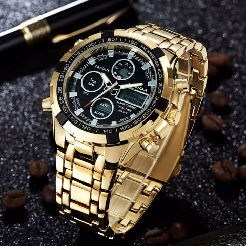 Image of Amunda Stainless Steel Gold Watch with Digital Features