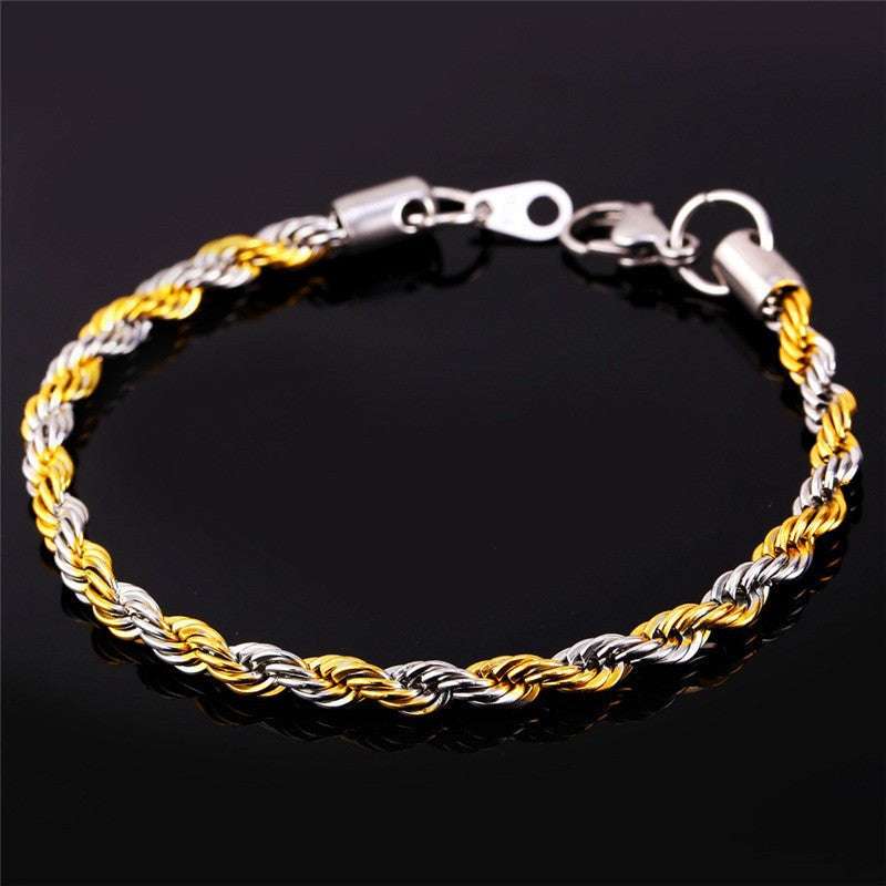 Two Tone Gold Color Rope Chain Necklace Set Jewelry Wholesale 316L Stainless Steel Necklace Bracelet Men Jewelry Set S672