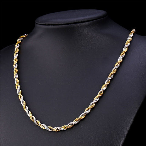 Image of Two Tone Gold Color Rope Chain Necklace Set Jewelry Wholesale 316L Stainless Steel Necklace Bracelet Men Jewelry Set S672