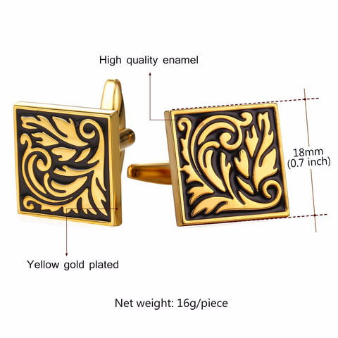 Image of New Square Cufflinks For Mens Enamel French Jewelry Gold Color Men Suit Vintage Leaf Cufflinks Box C020