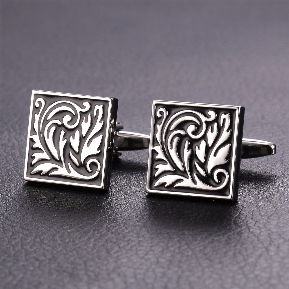 New Square Cufflinks For Mens Enamel French Jewelry Gold Color Men Suit Vintage Leaf Cufflinks Box C020