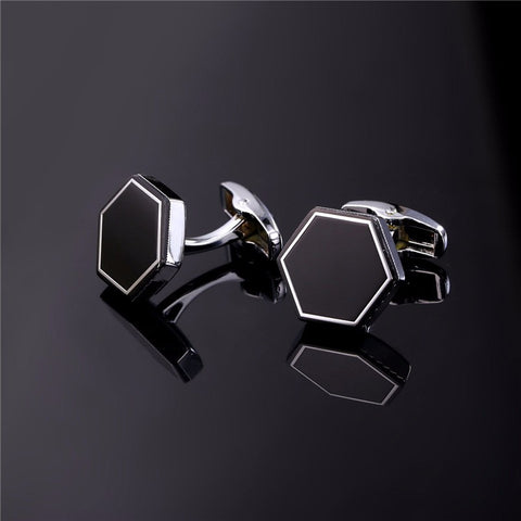 Image of New Hot Trendy Black Cufflinks For Mens Gold Color Business Suit Hexagon Tie Clips & Cufflinks Men Jewelry Wholesale C010