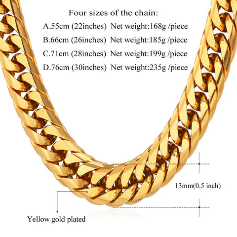 Image of Hip Hop Chains For Men Jewelry Wholesale Yellow Gold Color Thick Stainless Steel Long Big Chunky Hippie Rock Necklace N453