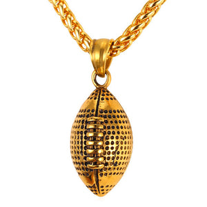 Men Necklace Fashion Jewelry Sport Gold Color Stainless Steel Workout American Football Fitness Chain & Pendant Ball P917