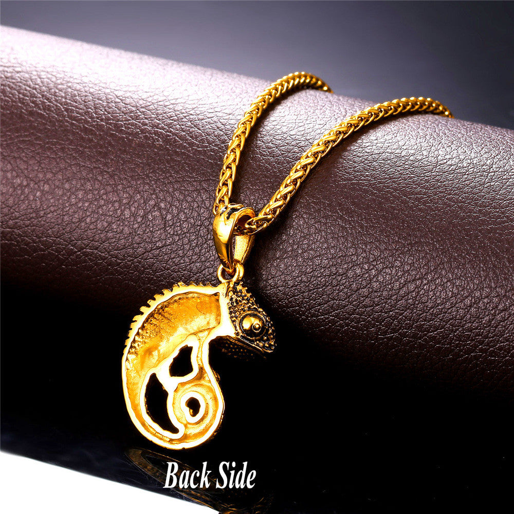 Statement Necklace For Men Chain Kpop Jewelry Gold Color Stainless Steel Chameleon Dragon Animal Necklaces & Pendants P594