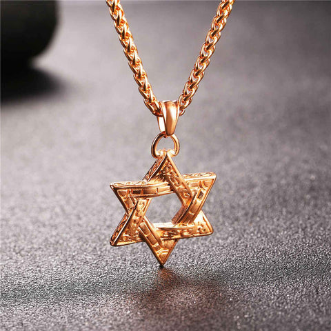 Image of Jewish Magen Star Of David Pendant Necklace Men/Women Chain Stainless Steel Silver/Gold Color Vintage Israel Jewelry P115