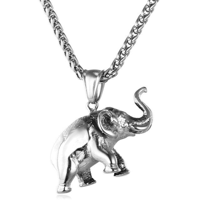 Stainless Steel Gold Color Elephant Necklace Trendy Men Jewelry Charm Pendant & Chain Animal Lucky Jewelry Gift P755