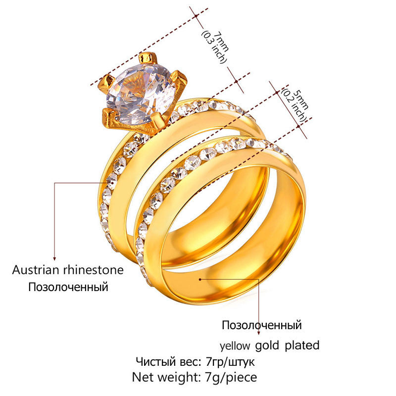 New Hot Wedding Couple Band Rings For Men and Women Silver/Gold Color Wholesale Rhinestone Luxury Brand Bridal Set Ring R442