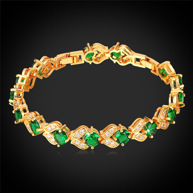 CZ Charm Tennis Bracelet Silver/Gold Color Synthetic Emerald Green Cubic Zirconia Women Fashion Jewelry Valentines Gift H689