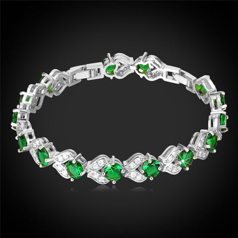 Image of CZ Charm Tennis Bracelet Silver/Gold Color Synthetic Emerald Green Cubic Zirconia Women Fashion Jewelry Valentines Gift H689