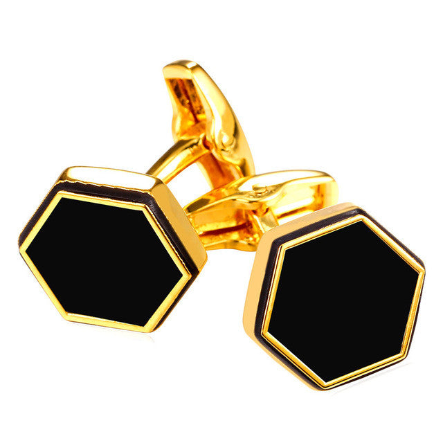 New Hot Trendy Black Cufflinks For Mens Gold Color Business Suit Hexagon Tie Clips & Cufflinks Men Jewelry Wholesale C010