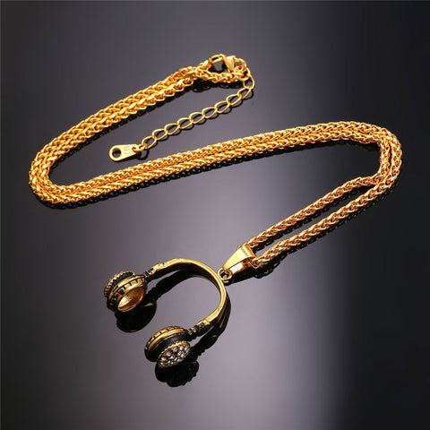 Music Necklace Headphone Charm Pendant & Chain Stainless Steel Gold Color Hiphop Rock Jewelry For Men/Women Gift P867