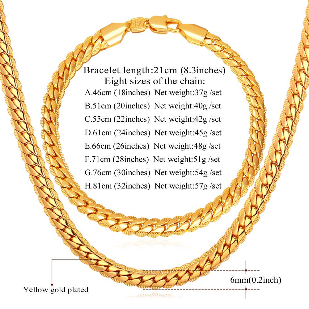 Classic Snake Chain Bracelet And Necklace Set For Men Gift Wholesale Trendy African Dubai Silver/Gold Color Jewelry Sets S374