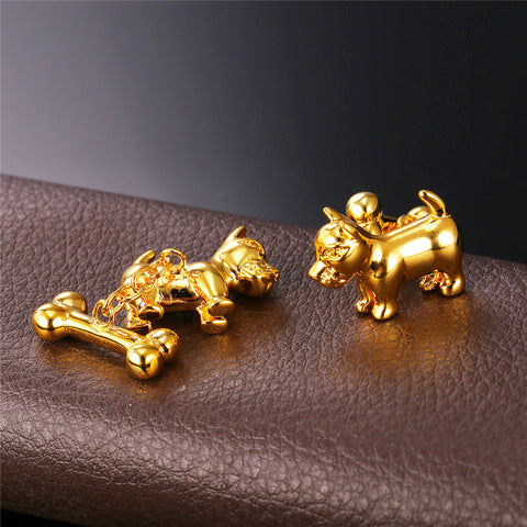New Cute Dog Cufflinks For Mens Fashion Jewelry Trendy Gold/Silver Color Bones Cuff Links Animal Jewelry C024