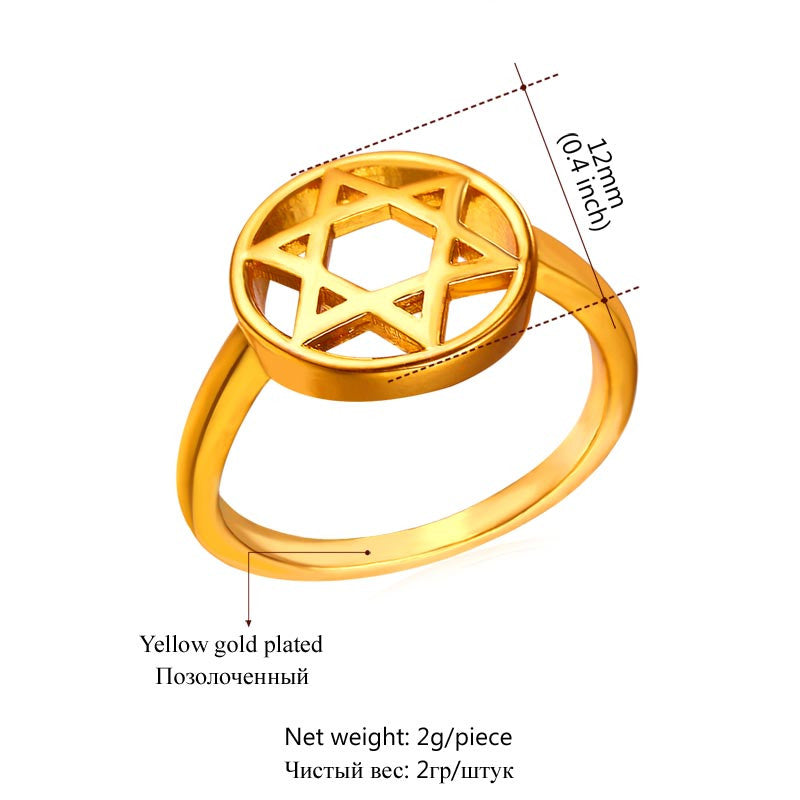 New Hot Fashion Star of David Jewelry Israel Ring Party Yellow Gold Color Six-pointed Star Bands Rings For Women Gift R445