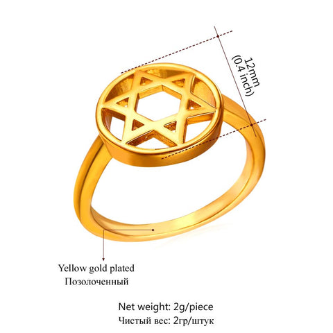Image of New Hot Fashion Star of David Jewelry Israel Ring Party Yellow Gold Color Six-pointed Star Bands Rings For Women Gift R445