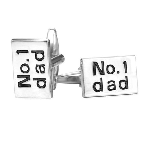 New Trendy Cufflinks For Mens Name Jewelry Gold/Silver Color No.1 Dad Letter Cuff Buttons Box For Fathers Gift C007