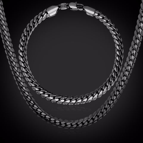Image of Classic Snake Chain Bracelet And Necklace Set For Men Gift Wholesale Trendy African Dubai Silver/Gold Color Jewelry Sets S374