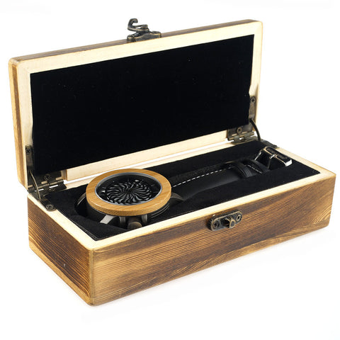 Image of Antique Kinetic Art Mechanical Watch Luxury Skeleton hollow-out design Waterproof With Wood Box