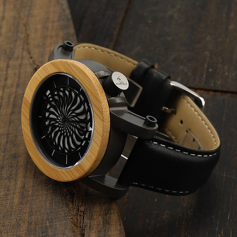 Antique Kinetic Art Mechanical Watch Luxury Skeleton hollow-out design Waterproof With Wood Box