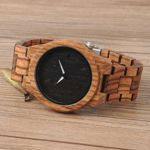 Image of Luminous Pointers Zebra Wooden Watch