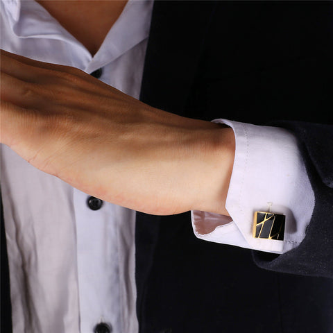 Image of New Square Cufflinks Black For Mens Enamel Fashion Jewelry Gold Color Men Suit Gold Stripes Cufflinks Box C019