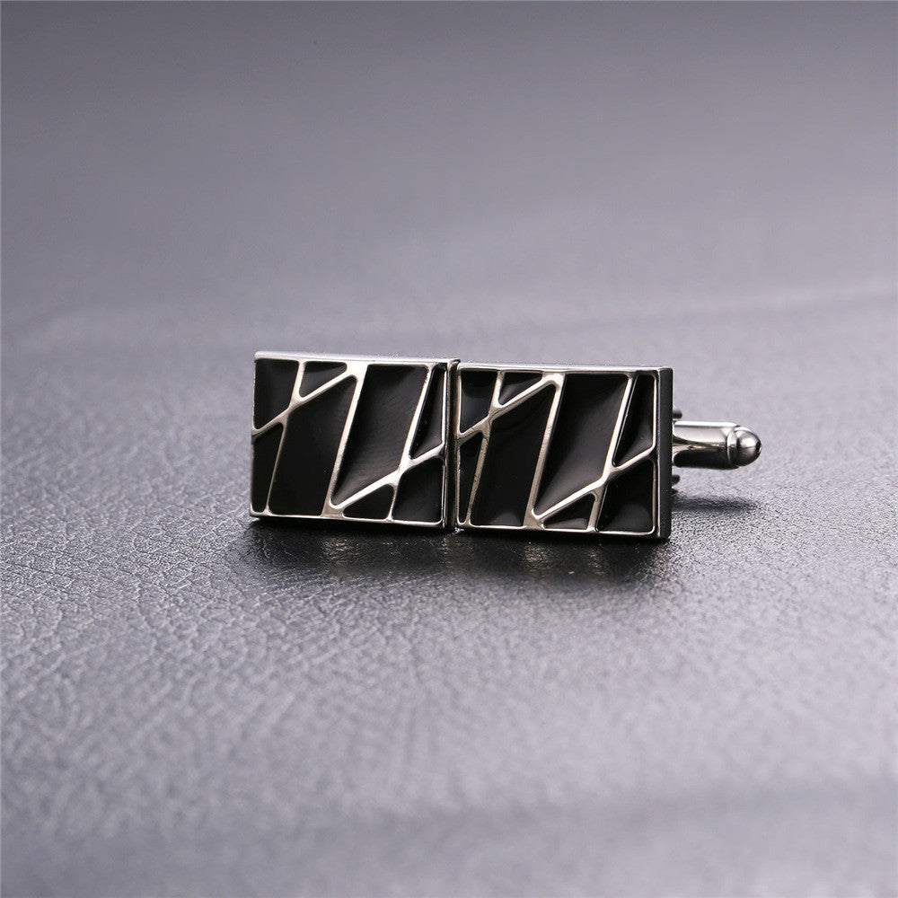 New Square Cufflinks Black For Mens Enamel Fashion Jewelry Gold Color Men Suit Gold Stripes Cufflinks Box C019