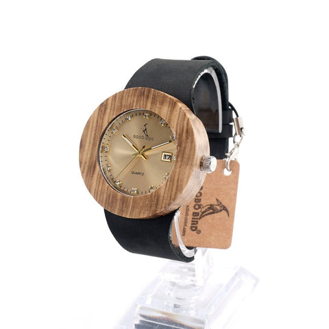 Round Vintage Design Luxury Gold Wooden Bamboo Watch