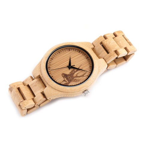 Image of Natural Deer Head Bamboo Wood Watch