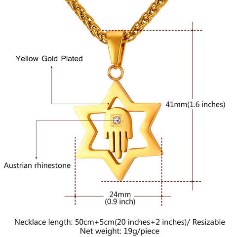 Image of Crystal Star of David Pendant For Women Men Jewelry Gold Color Stainless Steel Charms Hamsa Hand Lucky Necklace P912